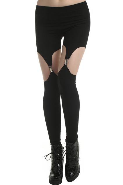 cbd685790 Cut-Out Solid Color Black Suspender Leggings in 2019