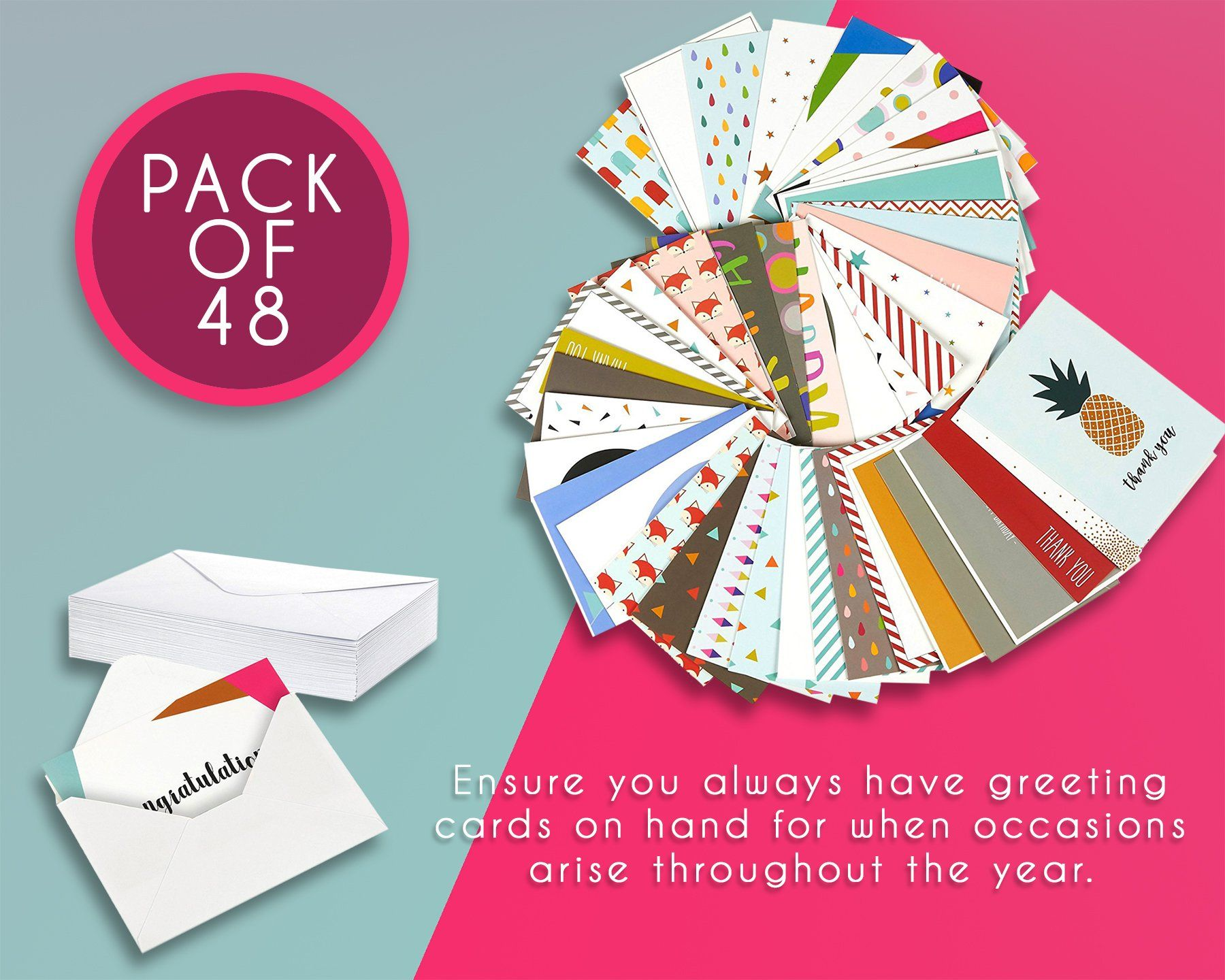 48 pack assorted all occasion greeting cards includes
