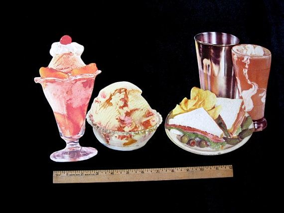 50's Vintage Die Cut Litho Ice Cream Parlor by SherwoodsTreasures, $26.00