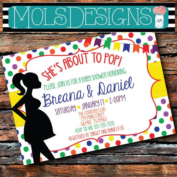Any Color She's ABOUT to POP BABY Shower Sprinkle Pregnant Woman Silhouette Polka Dot Green Red Blue Orange Primary Boy Girl Invitation on Etsy, $15.00