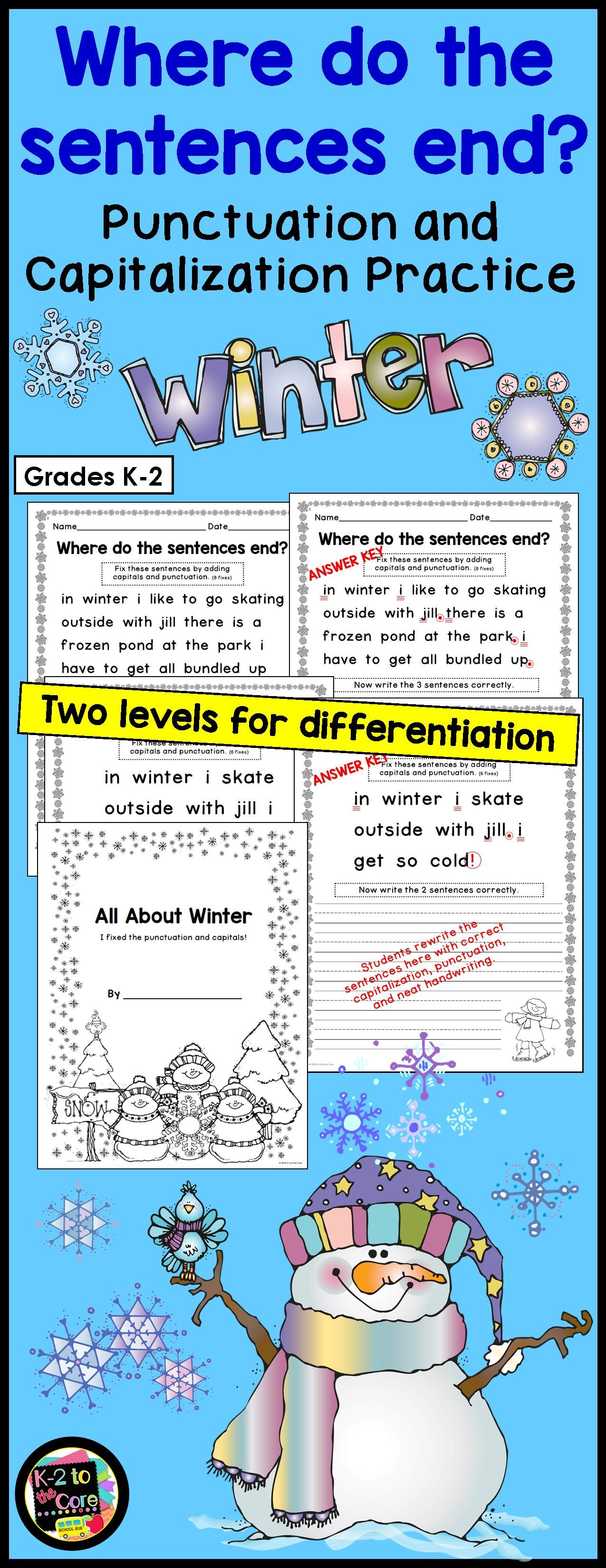Provide Your Students With Capitalization And Punctuation Practice With These Differentiated Editing And Wri Punctuation Homeschool Programs Writing Activities [ 3300 x 1275 Pixel ]
