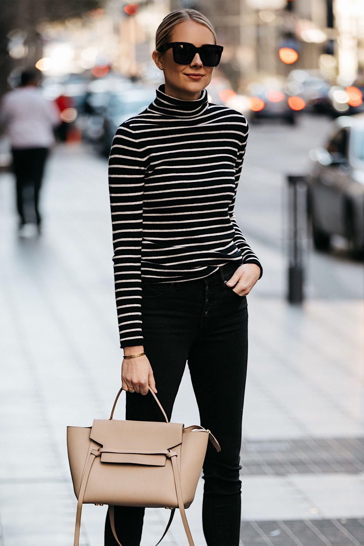 Fashion Jackson Nordstrom Black White Striped Turtleneck Sweater Black Skinny Jeans Celine Mini Belt Bag