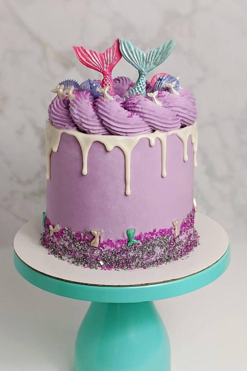 mermaid cookie cake design Mermaid Drip Cake Decorated with Mermaid Sprinkles