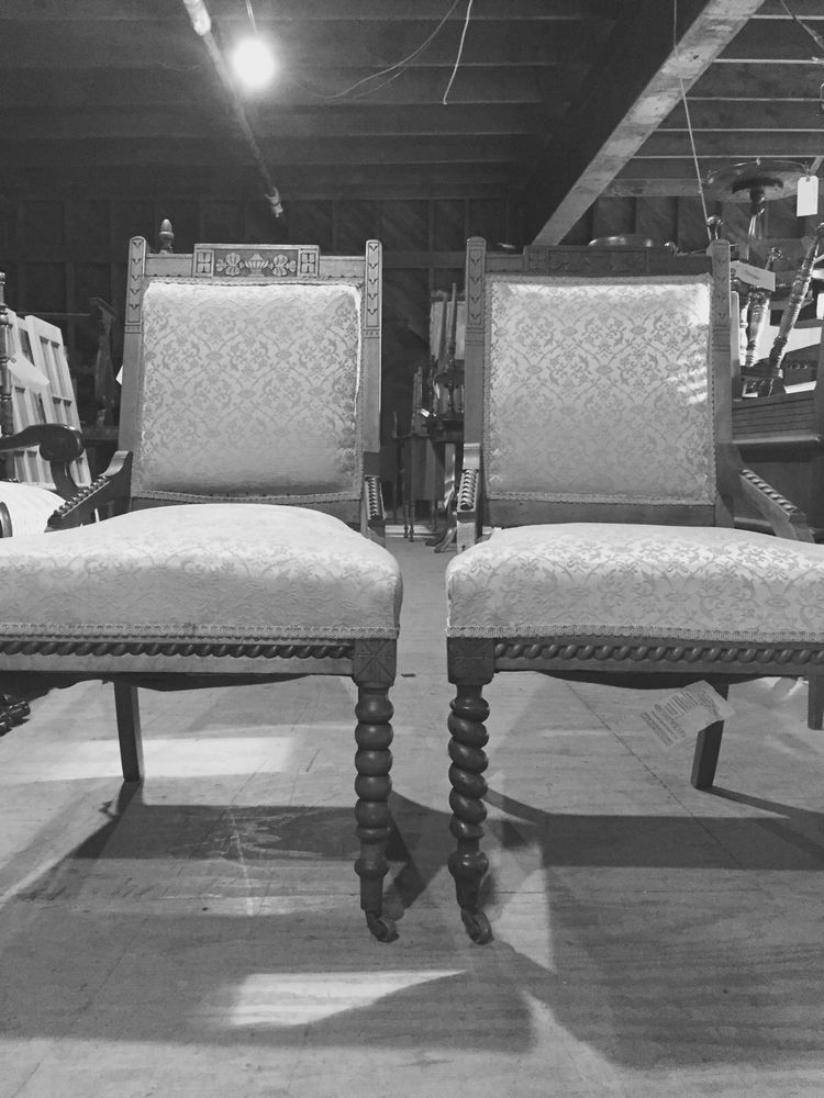 Pair Set Of 2 Antique Victorian Parlor Dining Chairs With Rope Twist Vintage Unknown
