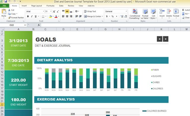 diet-and-exercise-journal-template-for-excel-2013-1 Get fit with