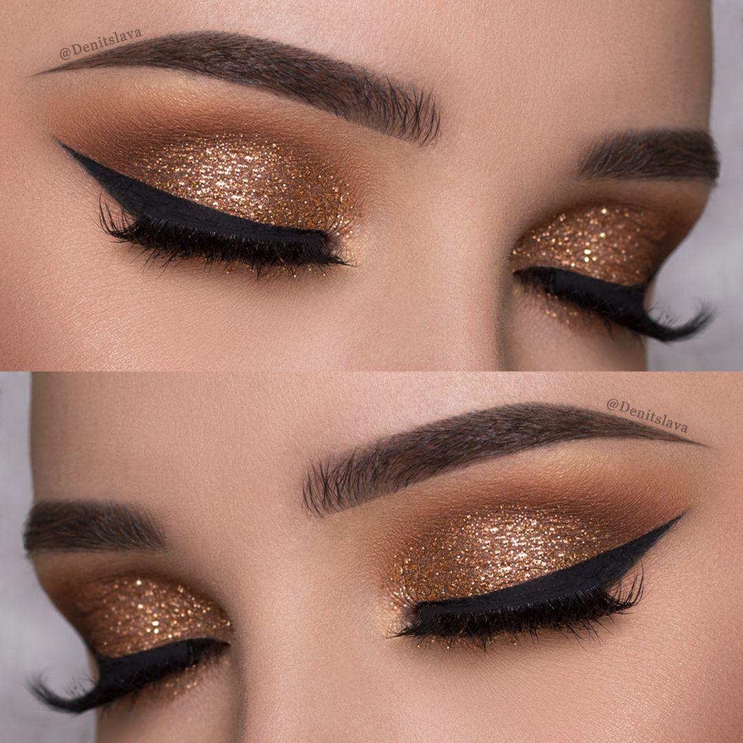 Easy Copper Glitter Smokey Eye Makeup Tutorial Denitslava Makeup