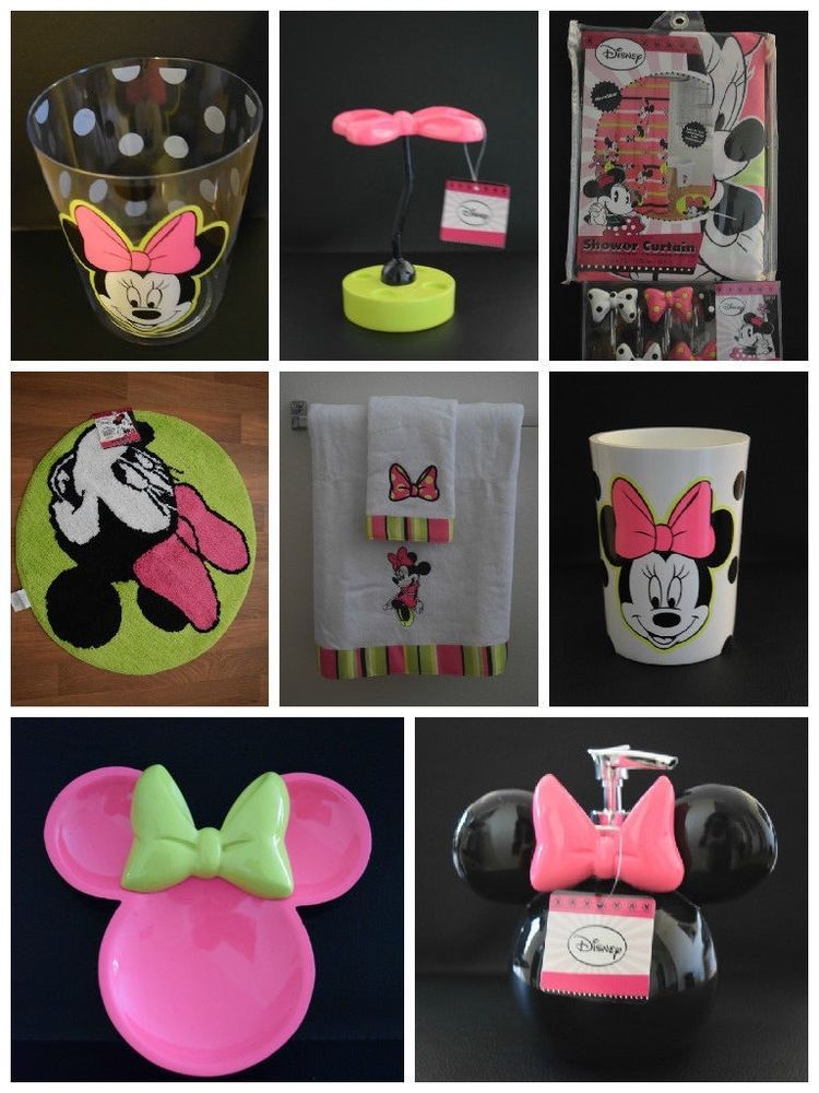 NEW Disney MINNIE MOUSE 21 Pc SHOWER CURTAIN W HOOKS Trash Can BATH RUG More