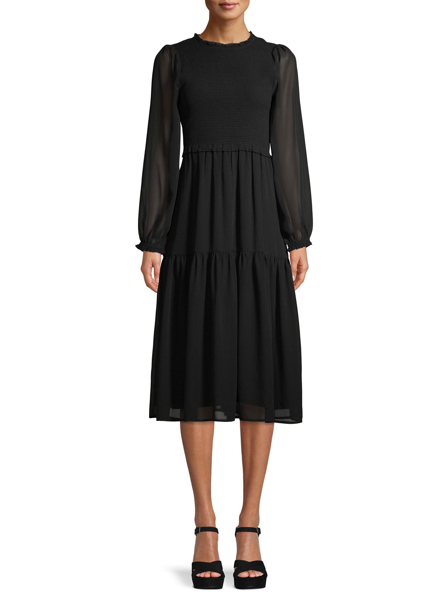 Time And Tru Time And Tru Women S Long Sleeve Smocked Tiered Dress Walmart Com Tiered Dress Tiered Midi Dress Dresses [ 2000 x 1500 Pixel ]