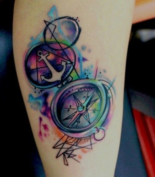 Amazing compass and anchor colour splash tattoo