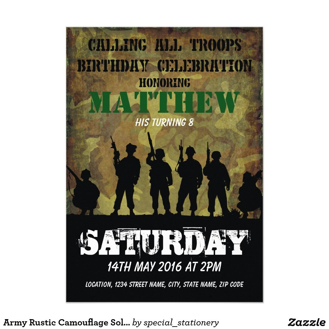 Army rustic camouflage soldiers kids birthday card camouflage army rustic camouflage soldiers kids birthday 5x7 paper invitation card filmwisefo