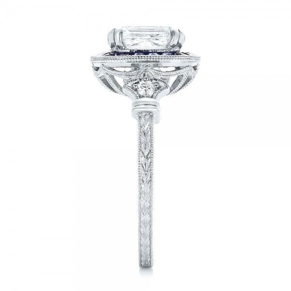 Custom Diamond and Blue Sapphire Halo Engagement Ring - Side View