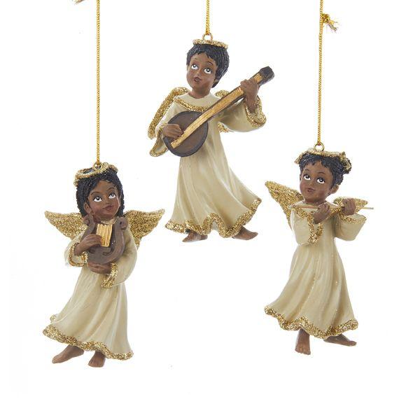 32535RESIN BLACK ANGEL ORNAMENTS AFRICANAMERICANANGELS
