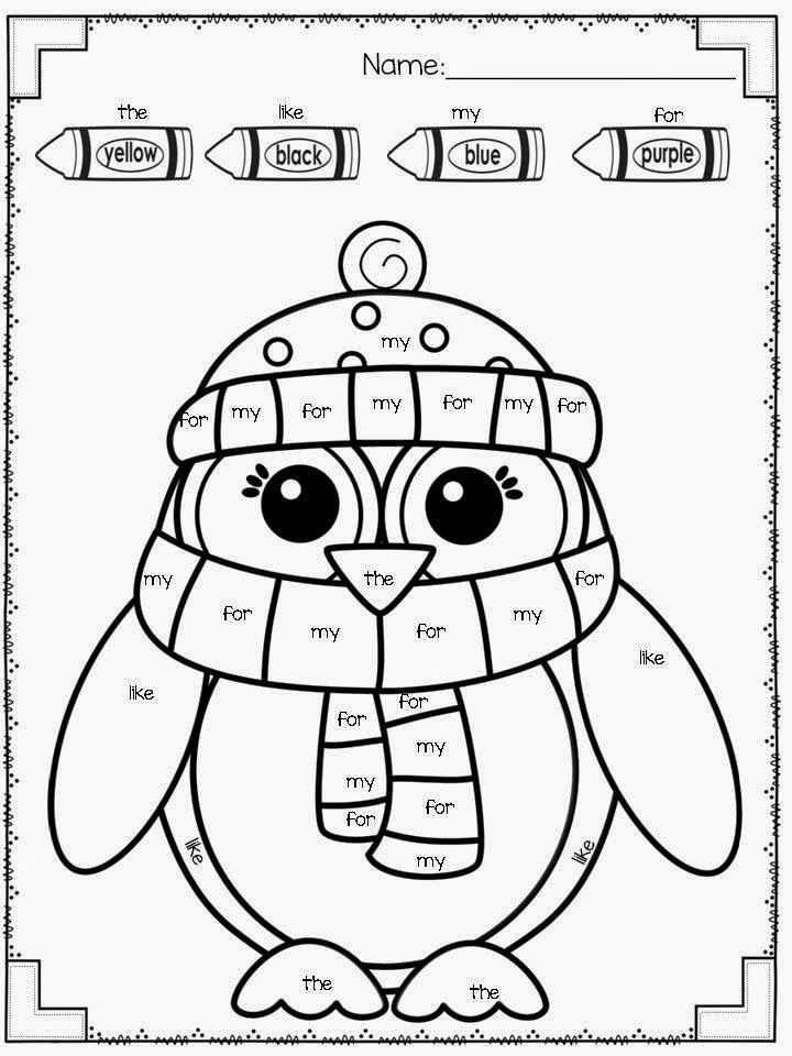 FREEBIE! Winter color by sight word kindergarten/ TK