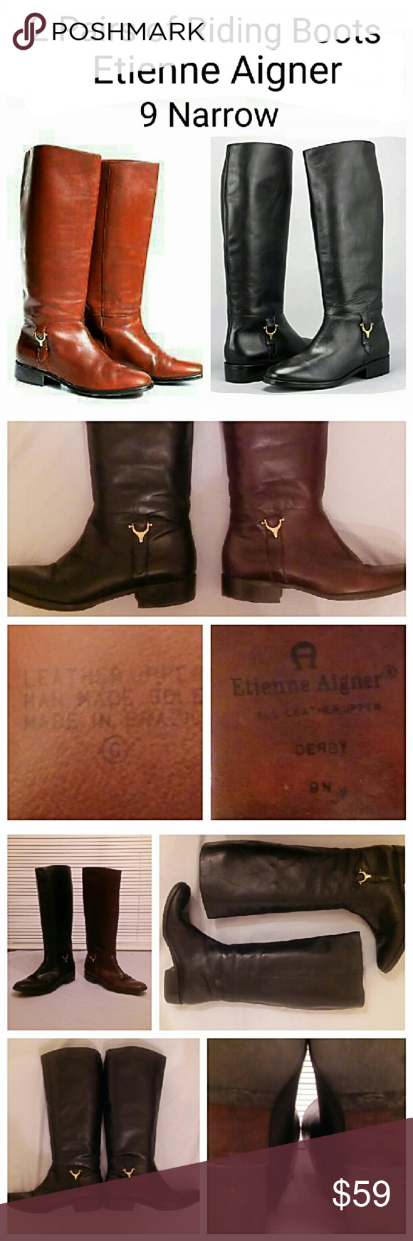 2 Pair Leather Derby Riding Boots 2 pair of the same brand, style & size boots - 1 black & 1 brown. Get an early jump on Fall. Etienne Aigner Shoes Winter & Rain Boots