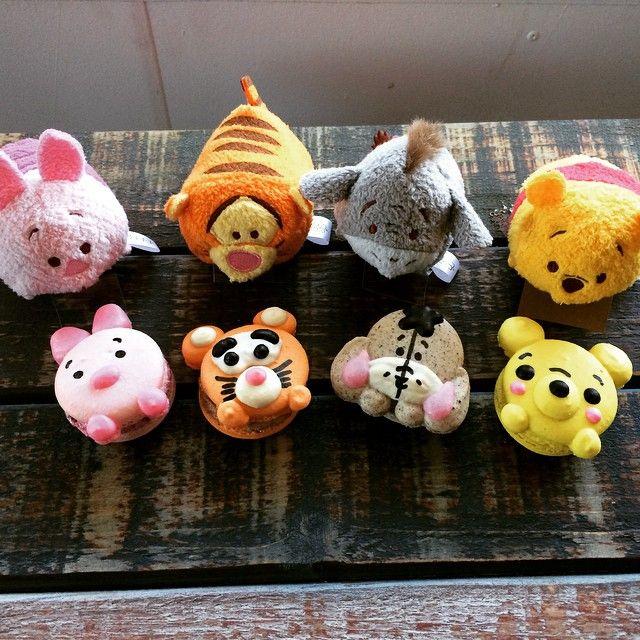 """Tsum Tsums & their macaron counterparts @honeyandbutter. #Piglet #Tigger #Eeyore #Pooh"""