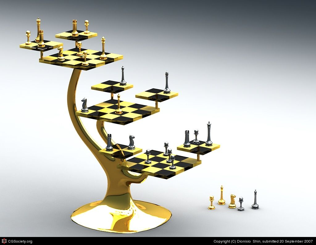 Tri level chess set unusual chess boards pinterest chess chess players and chess sets - Tri dimensional chess ...