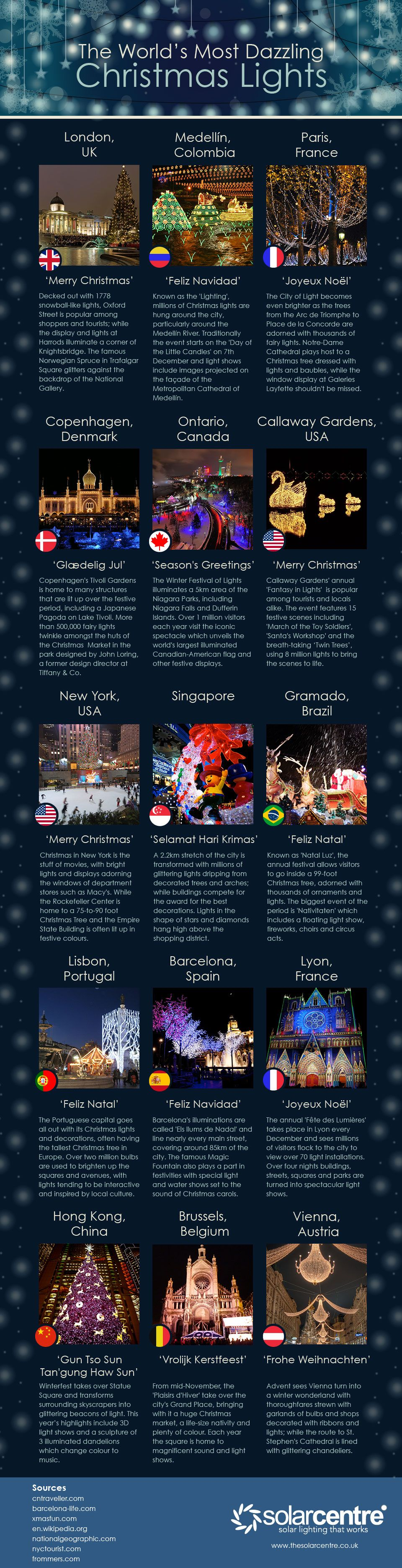 The World's Most Dazzling Christmas Lights #infographic