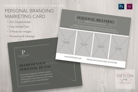 Personal Branding 5x7 Marketing Card Template Indesign Etsy Personal Branding Card Template Templates