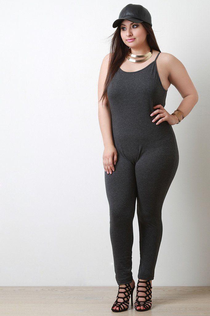 890e69d9d3e Jersey Knit Spaghetti Strap Body Jumpsuit - Gioellia Boutique - 14. This plus  size jumpsuit features soft ...