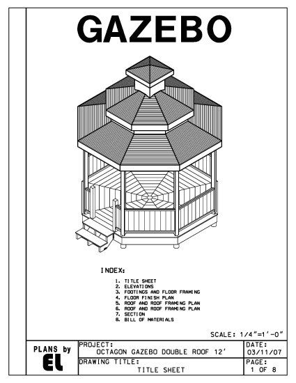 Octagon 8 Sided Double Roof Gazebo Building Plans Blueprints 12 Do It Yourself Diy Gazebo Gazebo Blueprints Gazebo Plans