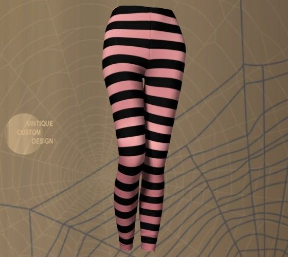 WITCH LEGGINGS Women's Halloween Leggings Pink and Black Striped Leggings Yoga Leggings Women's Yoga Pants Designer Fashion Leggings Cosplay #stripedleggings