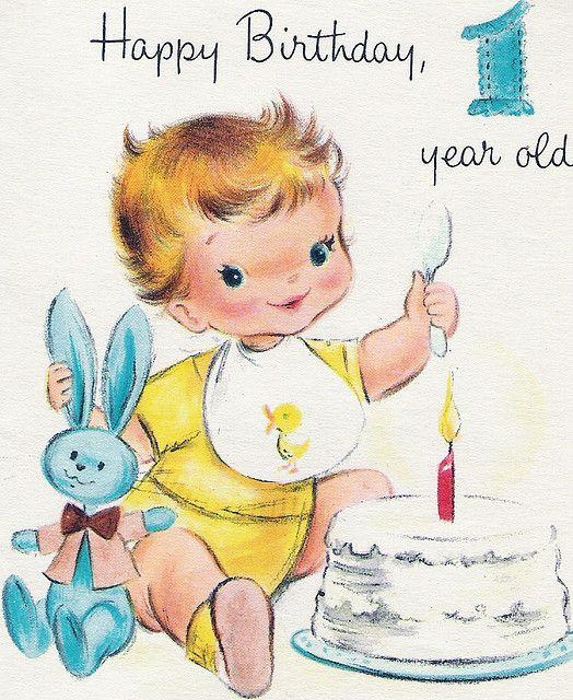 Darling vintage birthday card- would make a cute ...