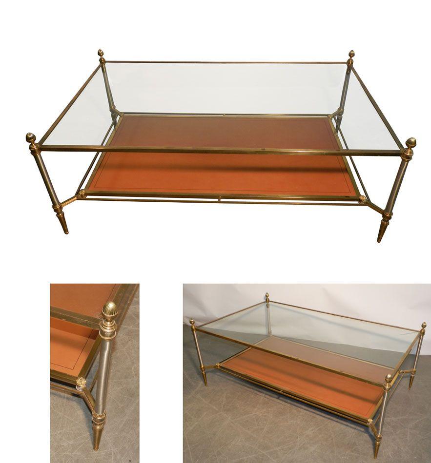 maison bagues grande table de salon a stucture en bronze et acier plateau verre et simili cuir. Black Bedroom Furniture Sets. Home Design Ideas