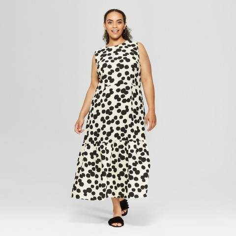 e0c0c313 Who What Wear Women's Plus Size Polka Dot Sleeveless Ruffle Midi Dress - Who  What Wear Cream/Black