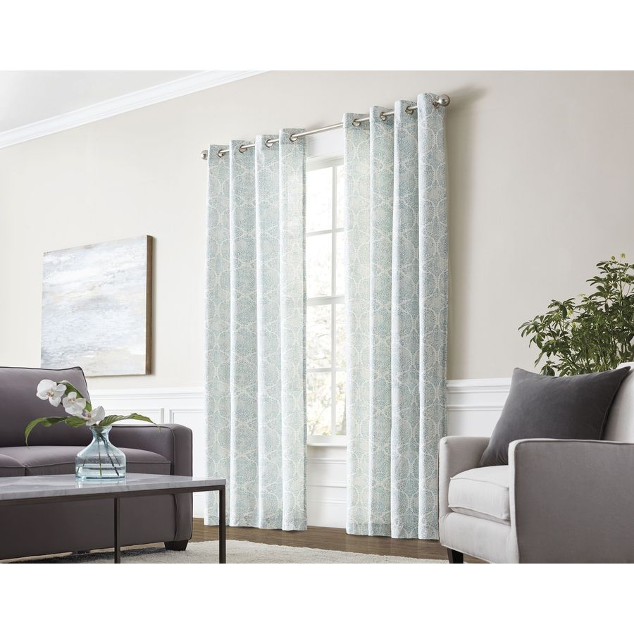 Allen Roth Lapeer 84 In Seaglass Cotton Light Filtering Single