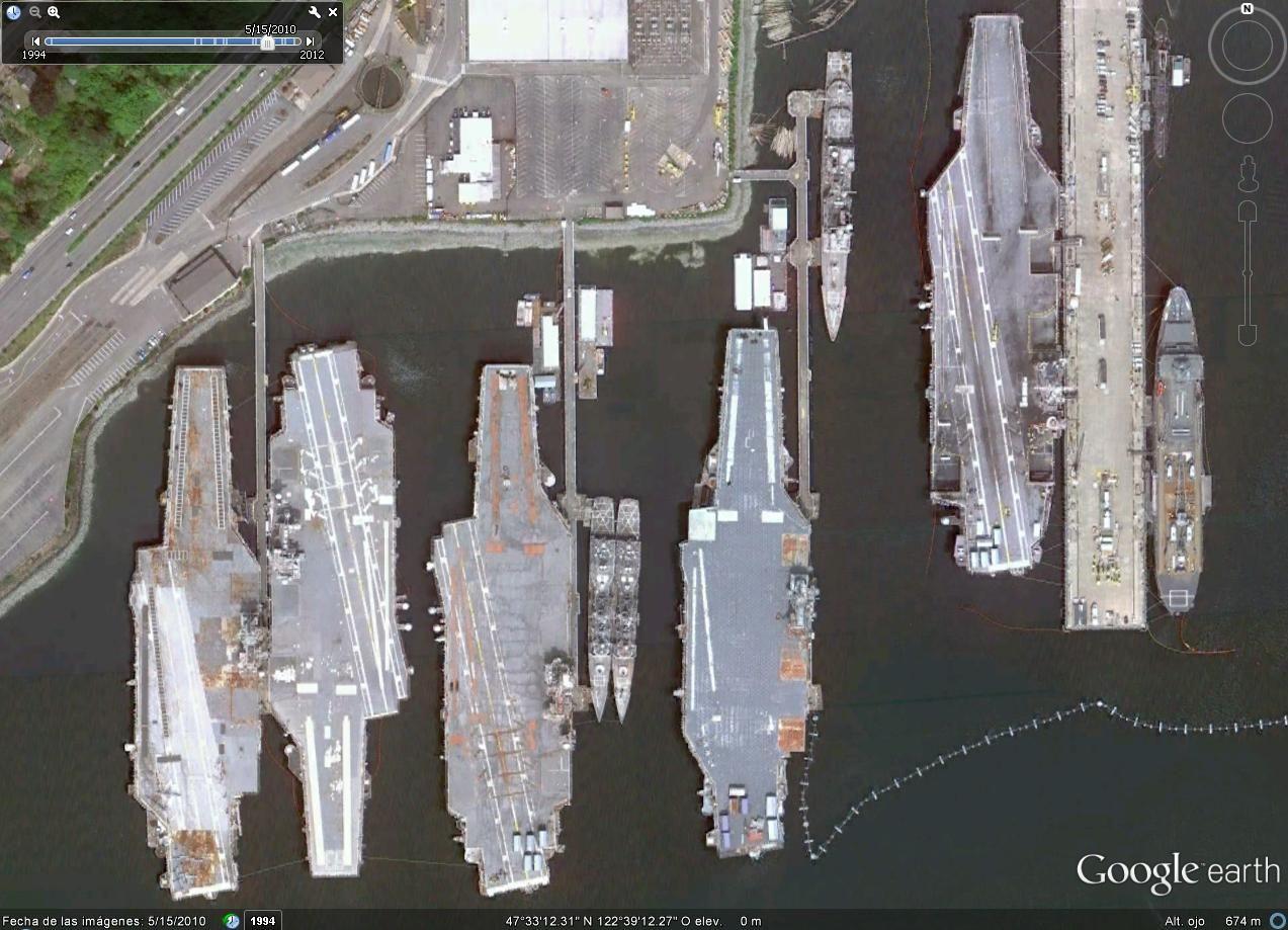 Independence, Kitty Hawk, Constellation, Ranger y John C Stennis. Pocas veces puede verse a 5 portaaviones juntos.