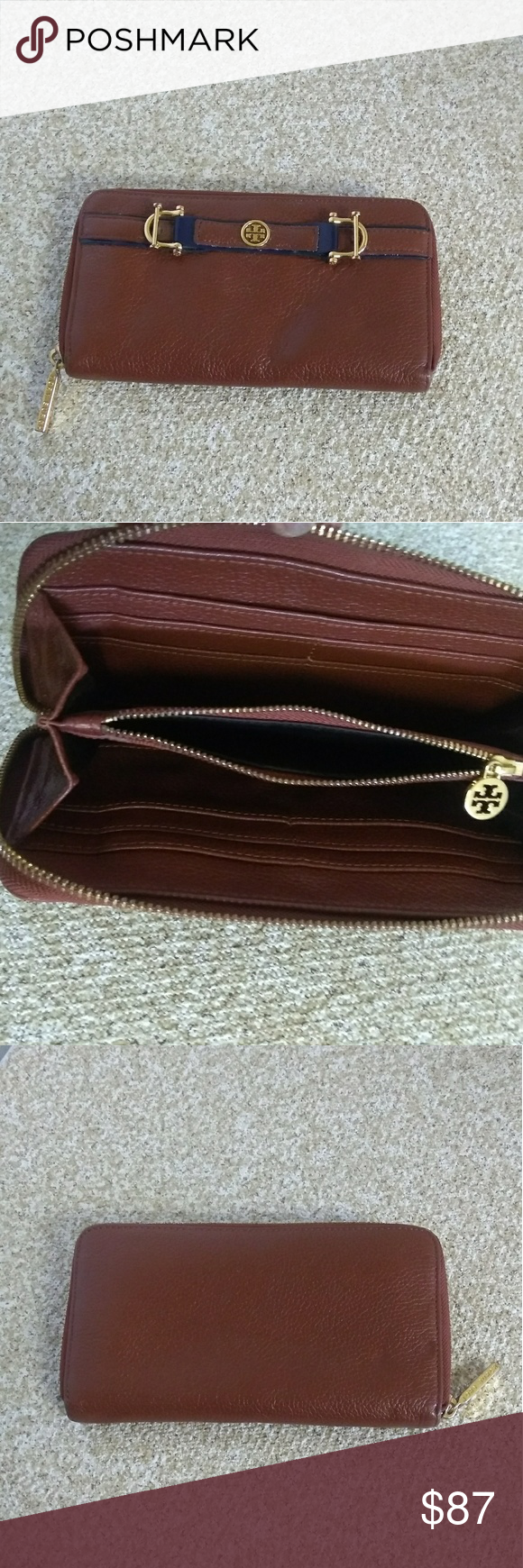 46eb25eb3382 Tory Burch Brown Pebbled Leather Clutch Like new preowned Tory Burch brown  pebbled leather zip around clutch wallet. Tory Burch Bags Wallets