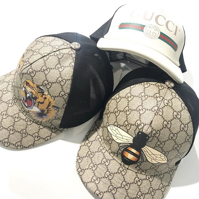 3034e79f585 CAPS by  GUCCI - Beige ebony GG Supreme canvas with Bee Tigers or the