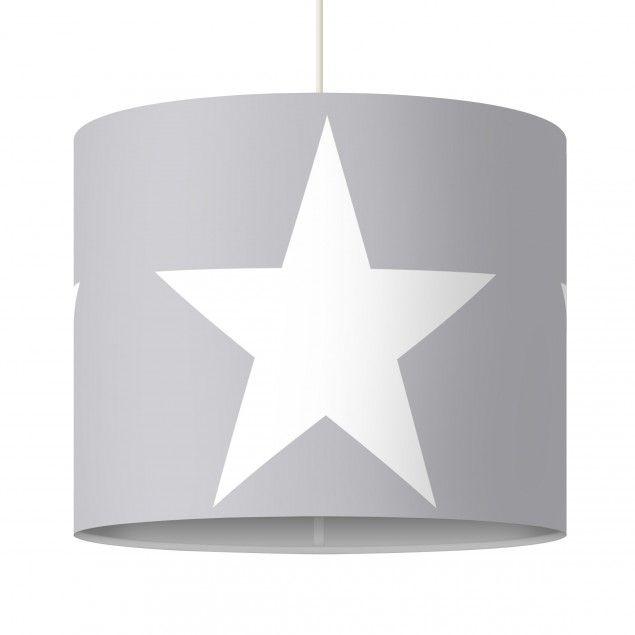 Pendelleuchte   Große Weiße Sterne Auf Grau   Lampe   Lampenschirm Grau Weiß