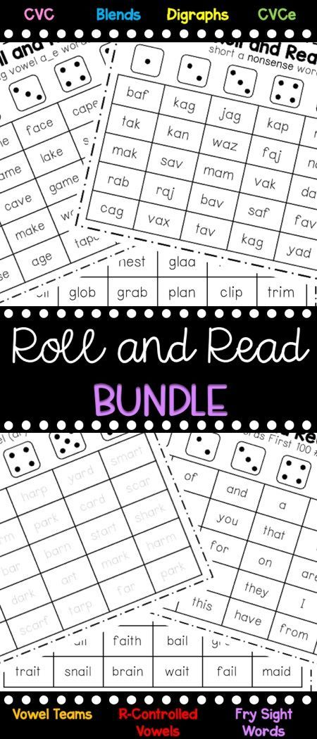 Roll and Read Bundle [Long/Short vowels, R-Controlled Vowels, Fry ...