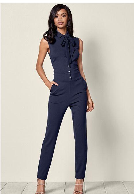 108ca516d9f VENUS Womens Navy Blue Button Front Straight Leg Knit Jumpsuit Size M   Venus  Jumpsuit