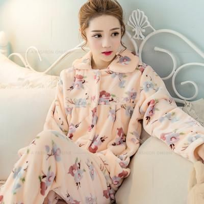 Autumn Winter Long Sleeved Women Flannel Thick Pajamas Coral Fleece Suits  Pajama Sets Lovely Pyjamas Women Homewear Plus Size e787ac710