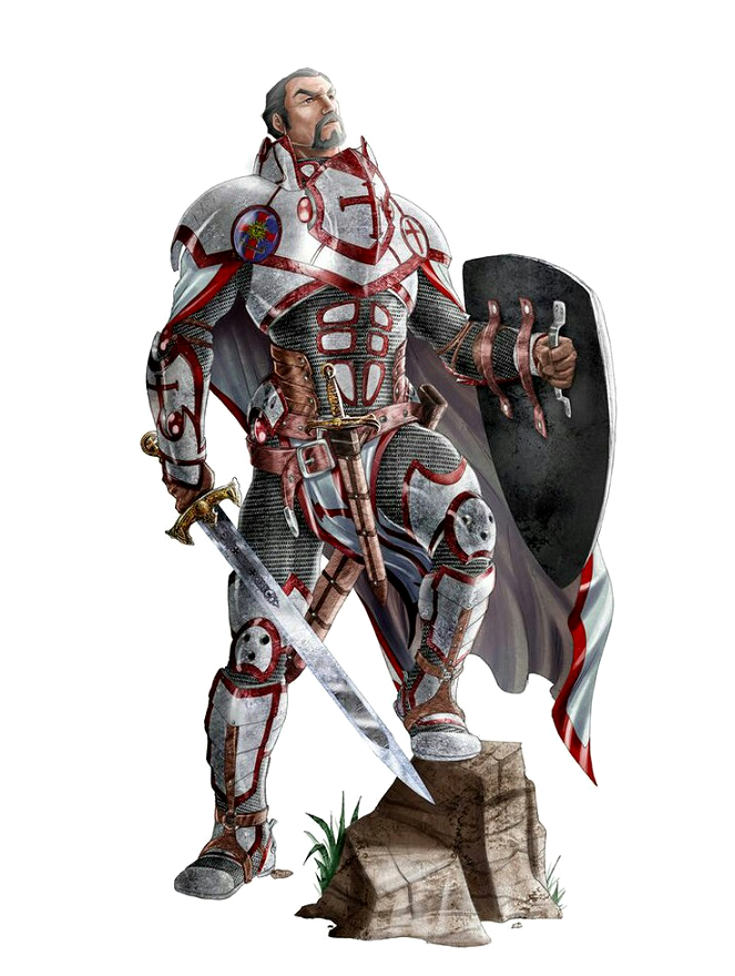Assez Human Male Paladin Knight - Pathfinder PFRPG DND D&D d20 fantasy  QN26