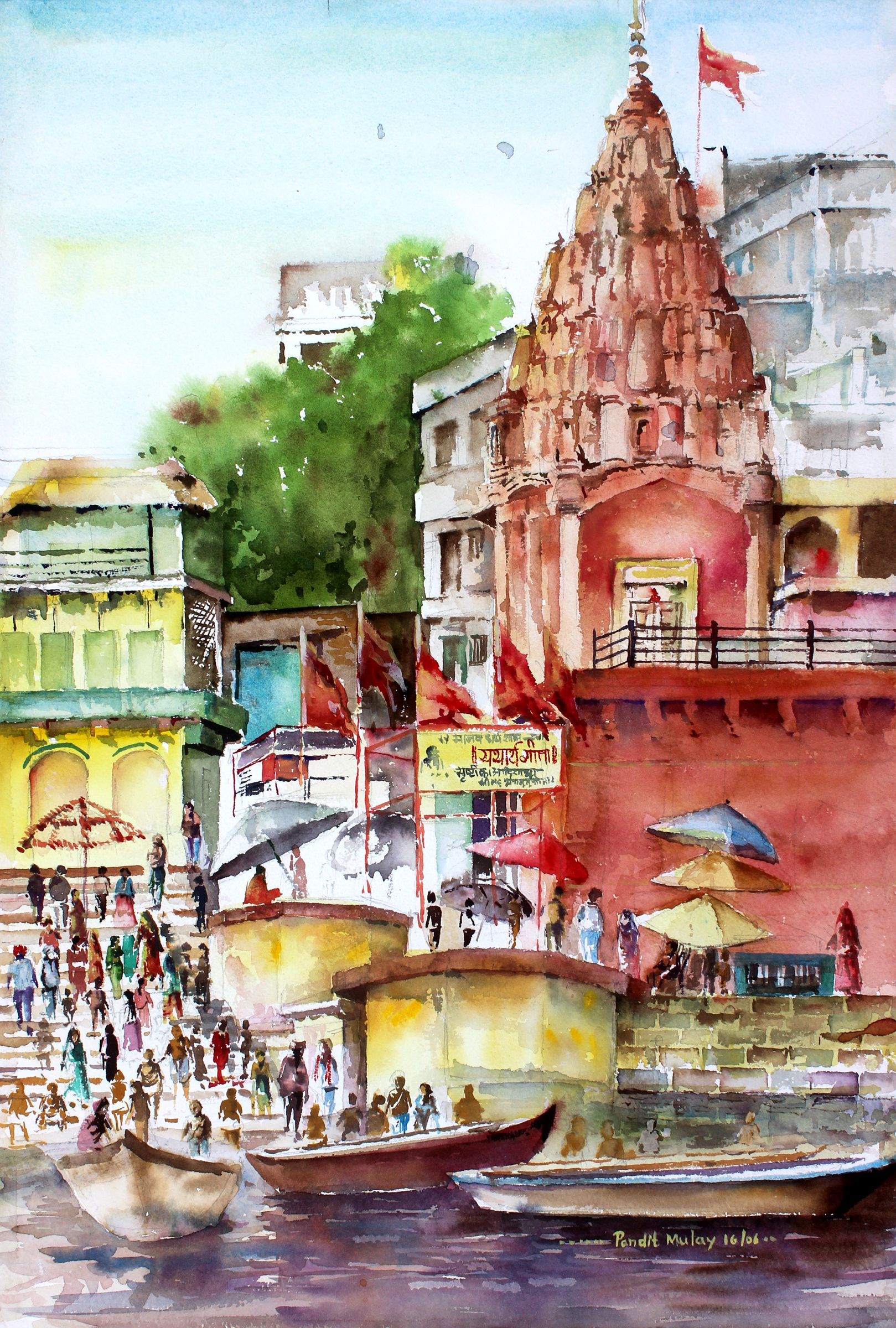 Art farm animal watercolor painting on canvas art 8x10 artsyhome - Temple At Banaras Ghat Painting By Artist Pandit Mulay Gallerist