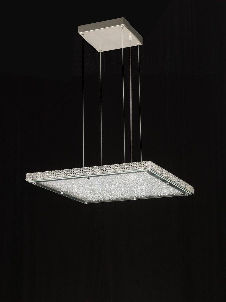 Lampara colgante crystal led 44w cuadrada de mantra tr for Lamparas colgantes led