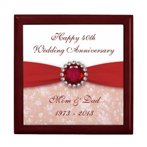 40th Wedding Anniversary Gifts For Parents Ideas: Damask 40th Wedding Anniversary Gift Box