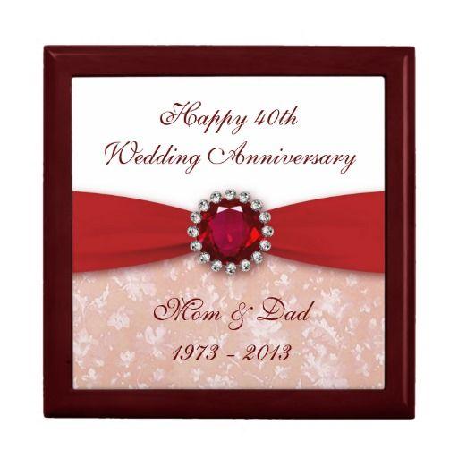 Unusual Ruby Wedding Gifts: Damask 40th Wedding Anniversary Gift Box