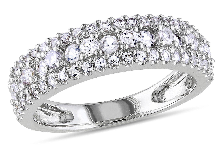 1 1/7 CT TGW Created White Sapphire Silver Fashion Ring - Ice.com