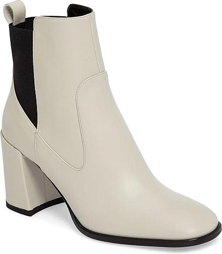 fdb81e4812 Slick Italian leather enhances the sleek silhouette of a round-toe bootie  set on a confident block heel.  footwear  ViaSpiga  shoes  trendy  stylish    ...