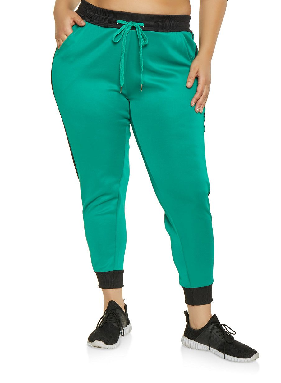 12916bc6d96 Plus Size Varsity Stripe Active Joggers - Green - Size 1X in 2018 ...