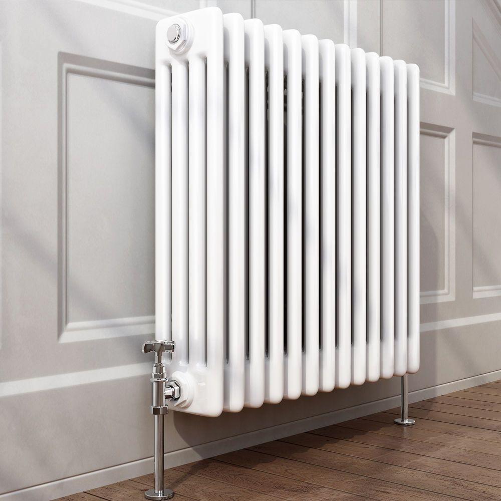 Traditional Cast Iron Style Horizontal Column Radiator White 4 Bar 600 x  600 mm