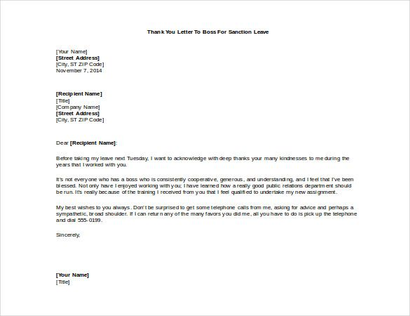 thank you letter boss for hike sample Home Design Idea - thank you letter to boss