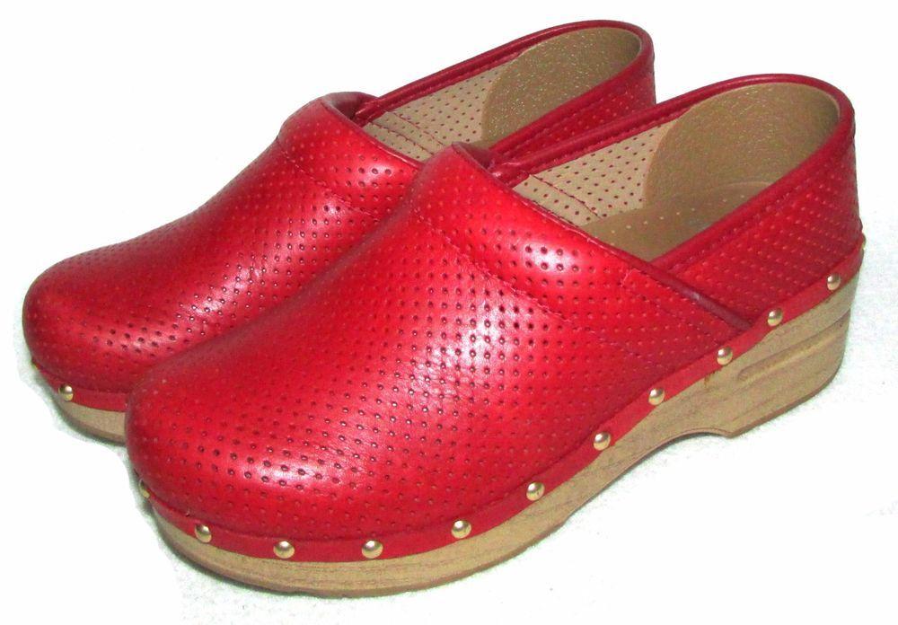 9958085bdd9 DANSKO PROFESSIONAL CLOGS Red Perforated Studded Womens 37 6.5 7  Dansko   Clogs  WeartoWork
