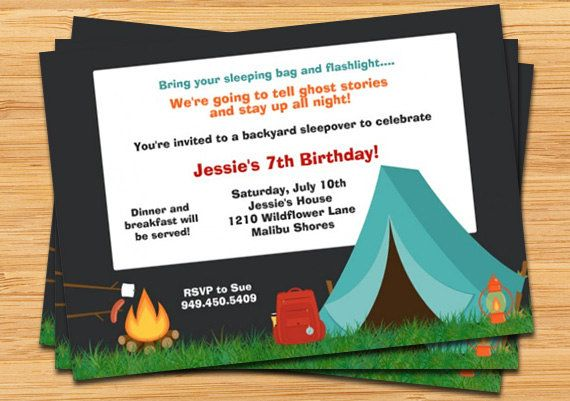 C&ing Birthday Party Invitation - C&fire Tent and Fully Customizable  sc 1 st  Pinterest & Camping Birthday Party Invitation - Campfire Tent and Fully ...
