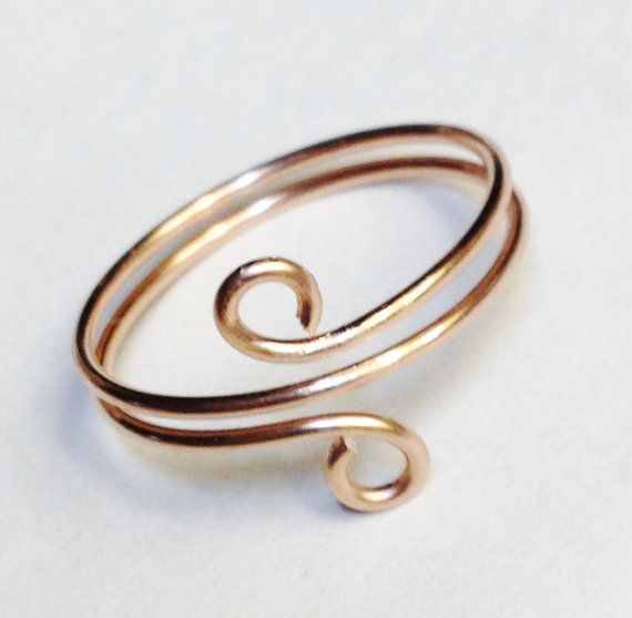 Rose Gold Ring, Toe Ring, Rose Gold Wire Wrapped Ring, 14K Gold Filled Spiral Ring, Rose Gold Jewelry
