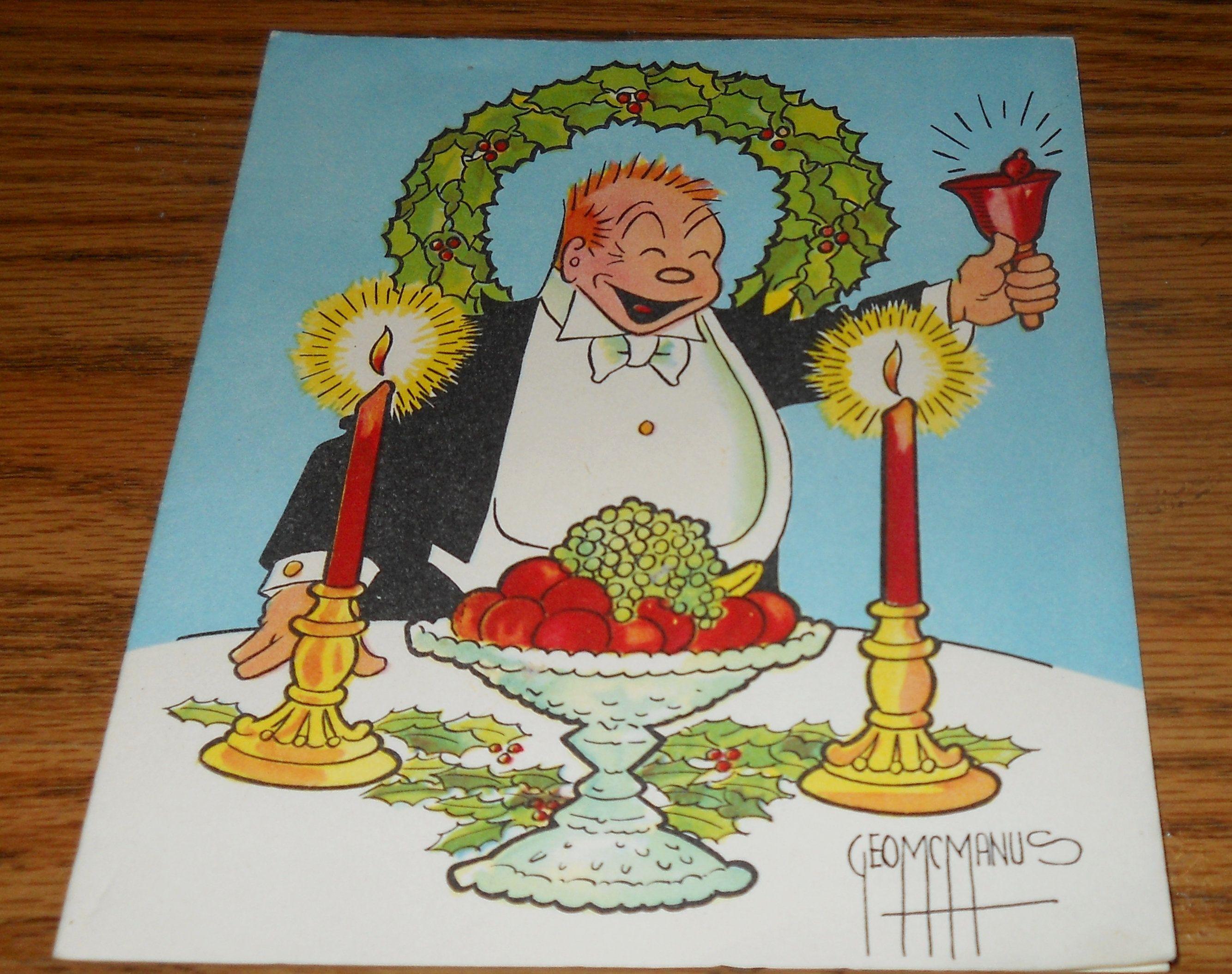Vintage Handpainted Greeting Christmas Card~George McManus Comic ...